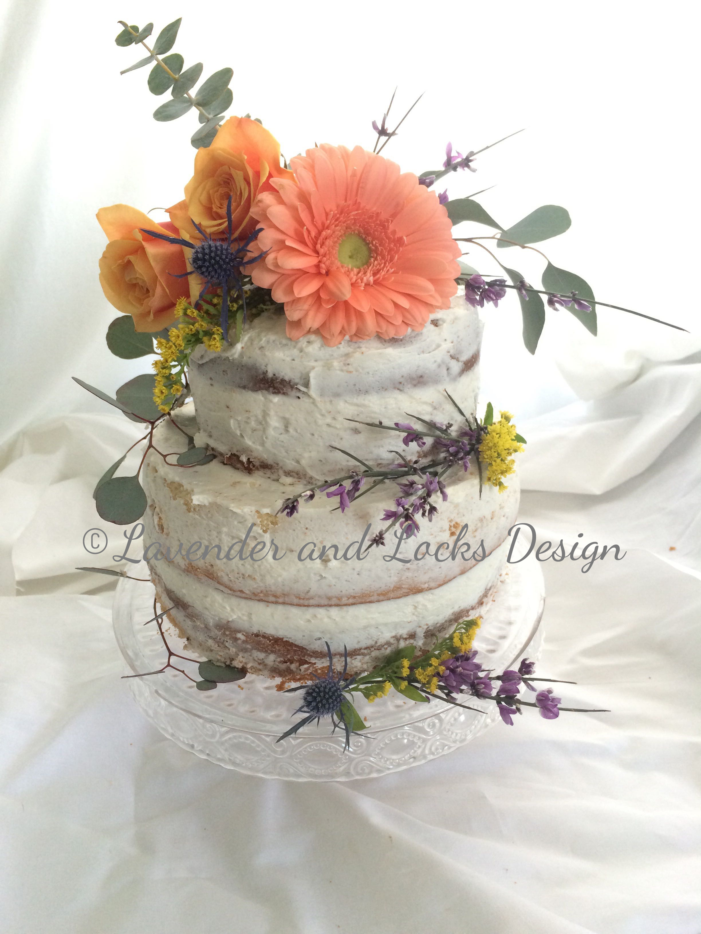 Naked Cake with Floral Accents