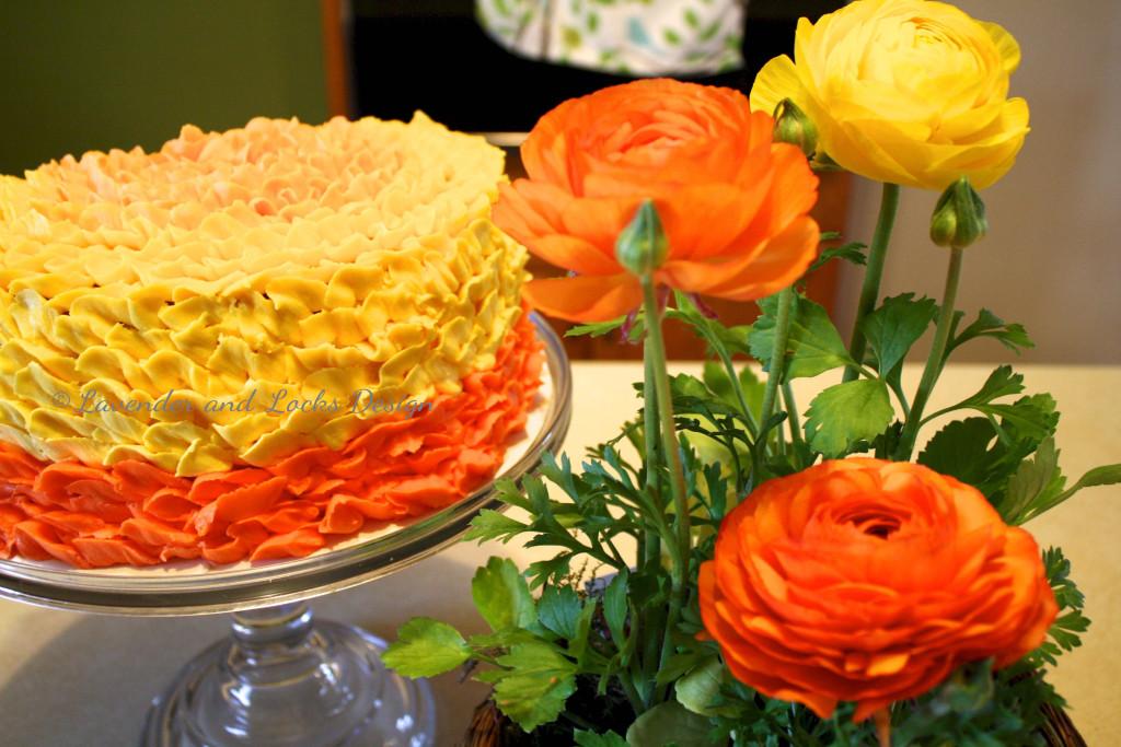 Ranunculus Ombre Cake